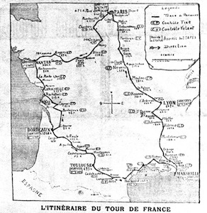 The Course of the 1903 Tour de France. Photo Courtesy of bikerace info.